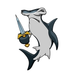 Cartoon hammerhead shark pirate with sword vector