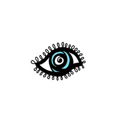 Cartoon icon evil eye in blue and black vector