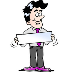 Cartoon of a businessman there is holding a sign vector