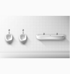 Ceramic urinal and basin in public male toilet vector