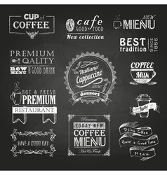 Chalk calligraphic drawing Set of Coffee sticker vector image