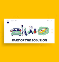 Characters throw garbage pollution landing page vector