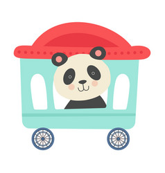 Cheerful red cheeked panda driving toy wheeled vector