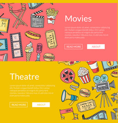 cinema doodle icons banners vector image