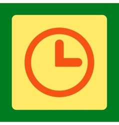 Clock flat orange and yellow colors rounded button vector