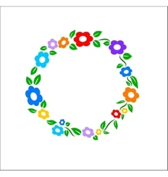 Colored vintage Flower ring frame decoration vector