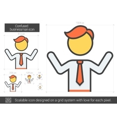 Confused businessman line icon vector