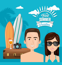 Couple characters on the beach vector