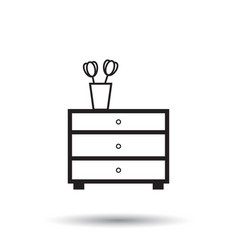 Cupboard furniture icon furniture on white vector