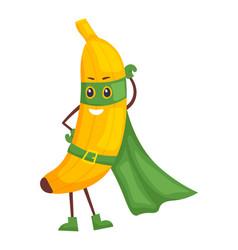 cute cartoon banana superhero isolated on white vector image