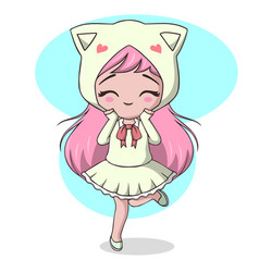 Cute little girl dressed as a cat vector