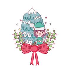cute santa helper with pine tree vector image