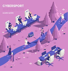 Cyber sport isometric poster vector