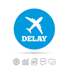 delayed flight sign icon airport delay symbol vector image