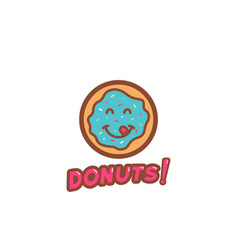 Delicious yummy happy donuts character logo vector