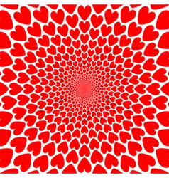 Design red heart twirl perspective background vector