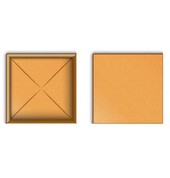 empty open cardboard box mockup top view with vector image