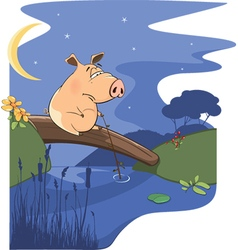Fairy tale about pig and a small river vector