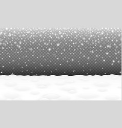 Falling snow with snowy landscape and snowdrifts vector