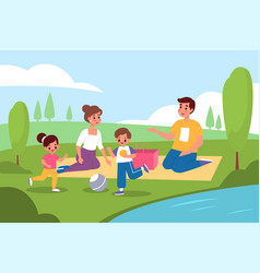 family picnic in nature parents and kids vector image