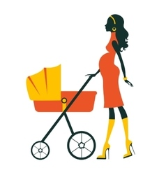Fashion mom with baby in pram under umbrella vector