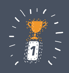 first place award sign winner medal icon vector image