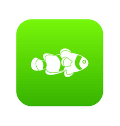 fish clown icon digital green vector image