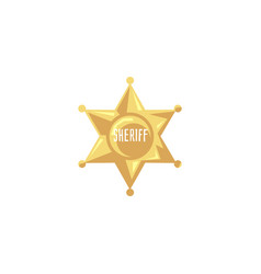 flat golden sheriff badge isolated on white vector image