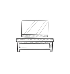 Flat screen tv on modern stand sketch icon vector image