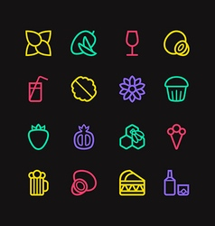 Fruit and desert icons in thin line style vector image