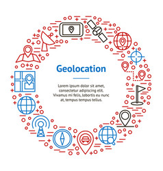 Geolocation navigation banner card circle vector
