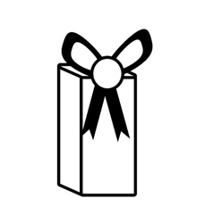 gift box party ribbon bow present outline vector image