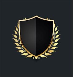 Golden shield with golden laurel wreath 02 vector