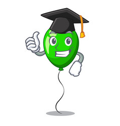 Graduation green baloon on left corner mascot vector