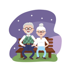 grandparent seated in the chair with glasses and vector image