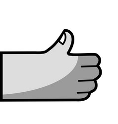 Grayscale human hand with nail and good symbol vector