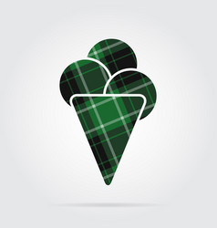 Green black tartan icon - ice cream three scoops vector