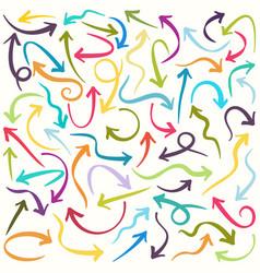 hand drawn multicolored arrows icons set vector image