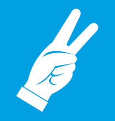 Hand showing victory sign icon white vector