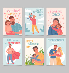 happy father day gift cards with fathers and kids vector image
