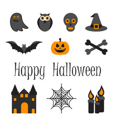 happy halloween icon set of symbols vector image
