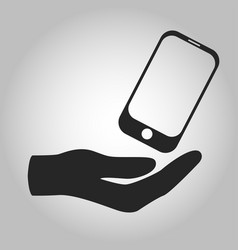 icon hand holding smartphone isolated vector image