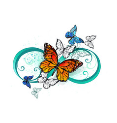 infinity with an orange butterfly vector image