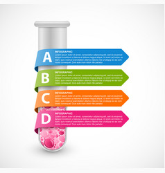 Infographics test tube with multi-colored ribbons vector