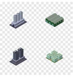 Isometric construction set of clinic tower vector