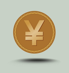 Japanese currency yen symbol gold coin with vector