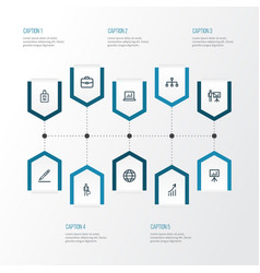 Job outline icons set collection of structure vector