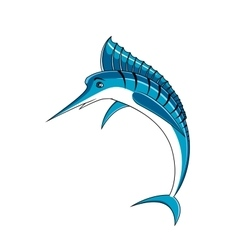 Jumping blue marlin fish character vector image