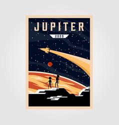 jupiter poster background space vintage poster vector image