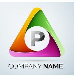 Letter P logo symbol in the colorful triangle vector image